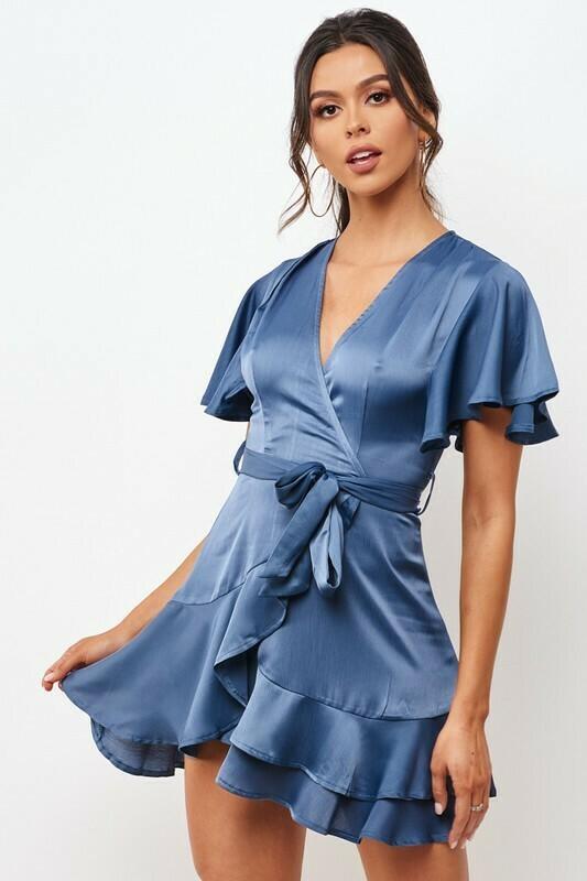 Satin Surplice Self Tie Dress