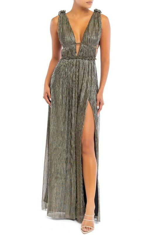 Crystal Crinkle Grecian Maxi Dress