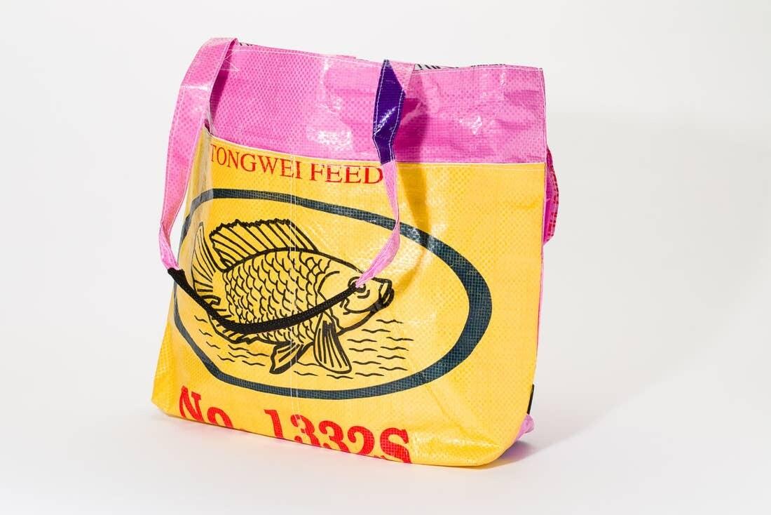 Yellow Fish Pink Barrel Tote Bag