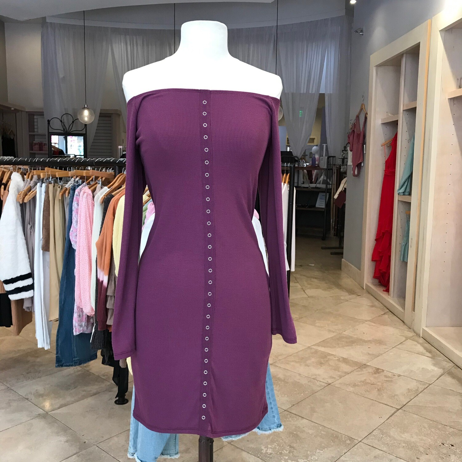Lali Plum Button Dress