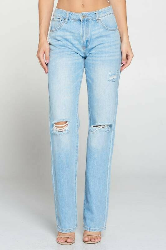 Slouch Straight Long Jeans