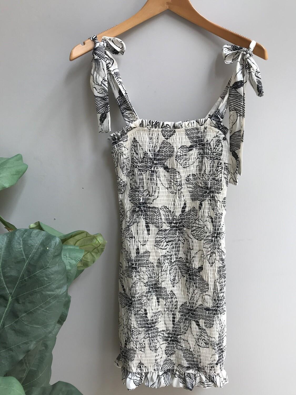 Floral Tie Strap Smocked Dress