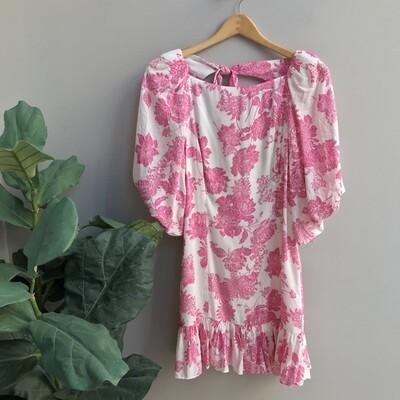 Floral Print Open Back Dress