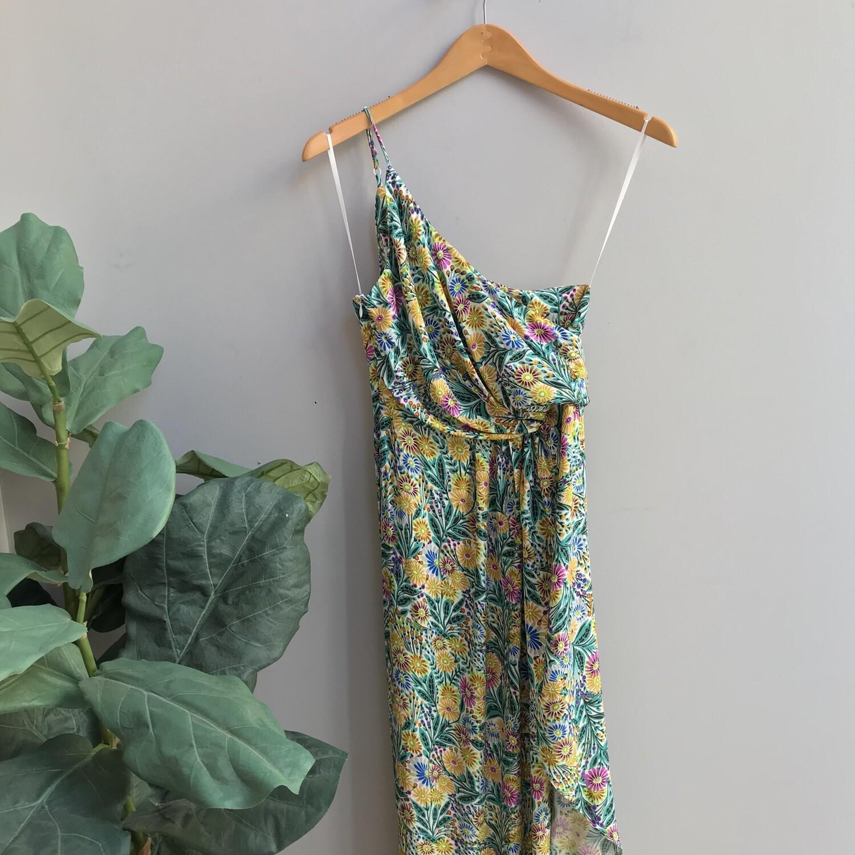 One Shoulder Abstract Slit Dress