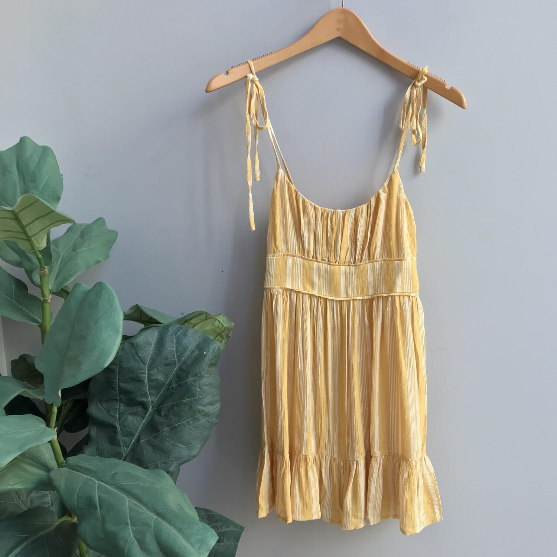 Striped Adjustable Sleeve Smocked Dress