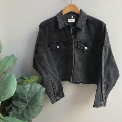 Raw & Ribbed Crop Denim Jacket