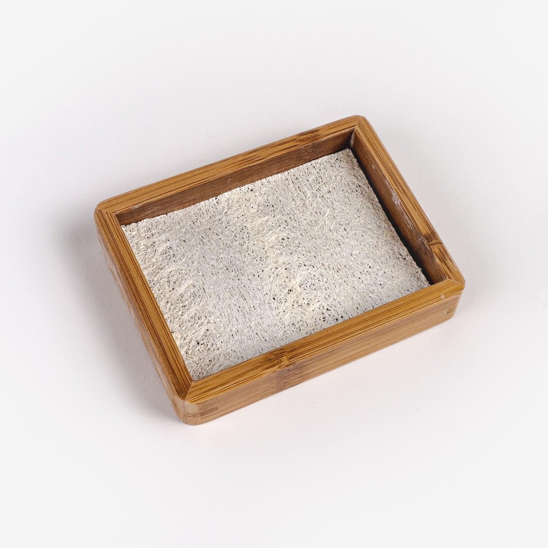Bamboo Soap Tray With Loofah Pad