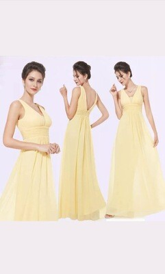 Three Pale Lemon Bridesmaids Dresses