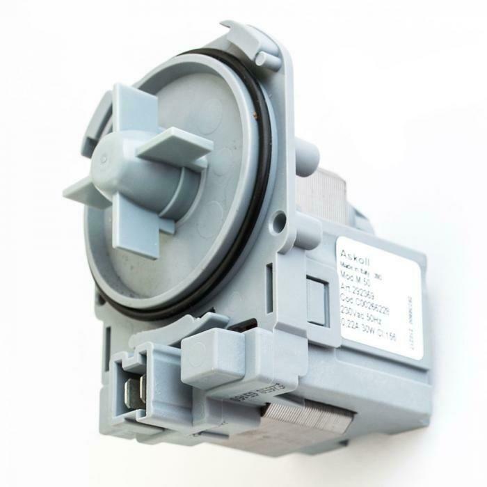 Насос (помпа) на защелках Askoll 30 Вт для стиральных машин Bosch, Siemens, Indesit, Zanussi, клемы спереди вместе P002