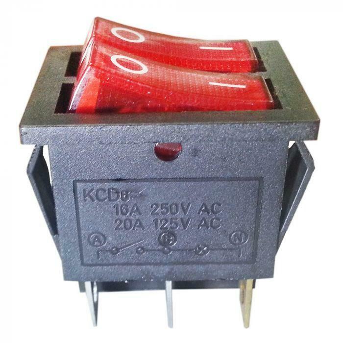 Выключатель двухклавишный 26х31 мм (красный)