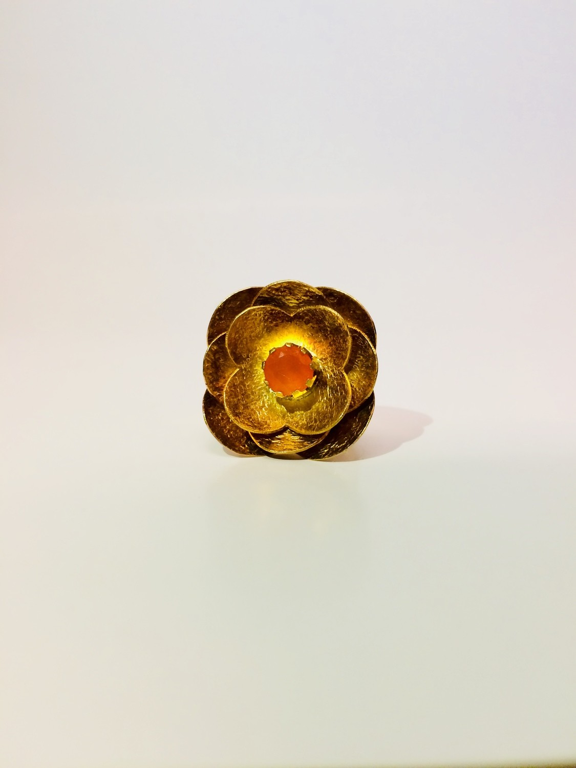 14 Katat Gold Plated Carnelian Flower Ring