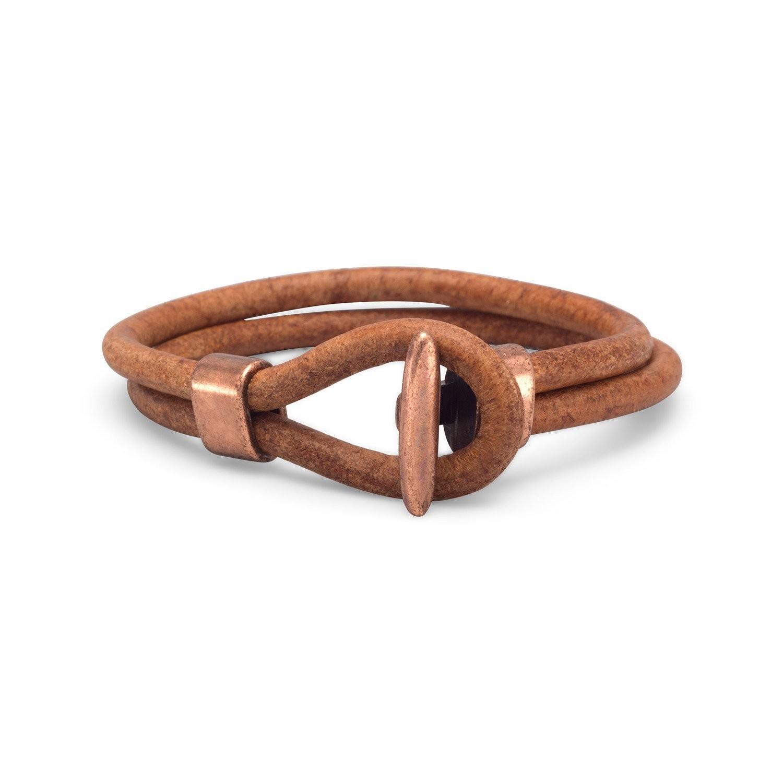 "9"" Men's Leather and Copper Bracelet"