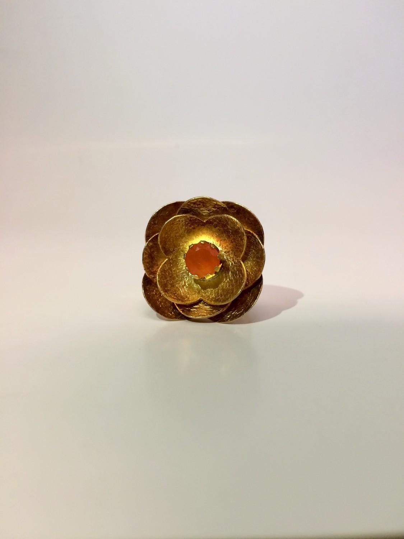 14 K Gold Plated Carnelian Flower Ring
