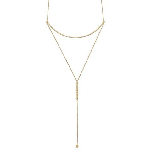 14 Karat GP Long Bar Drop Necklace
