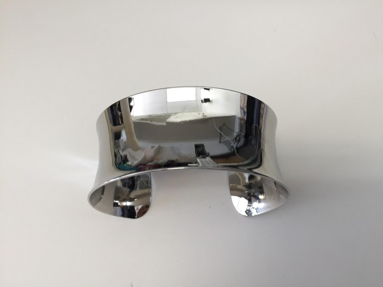 Silver Brass Concave Cuff/Bracelet