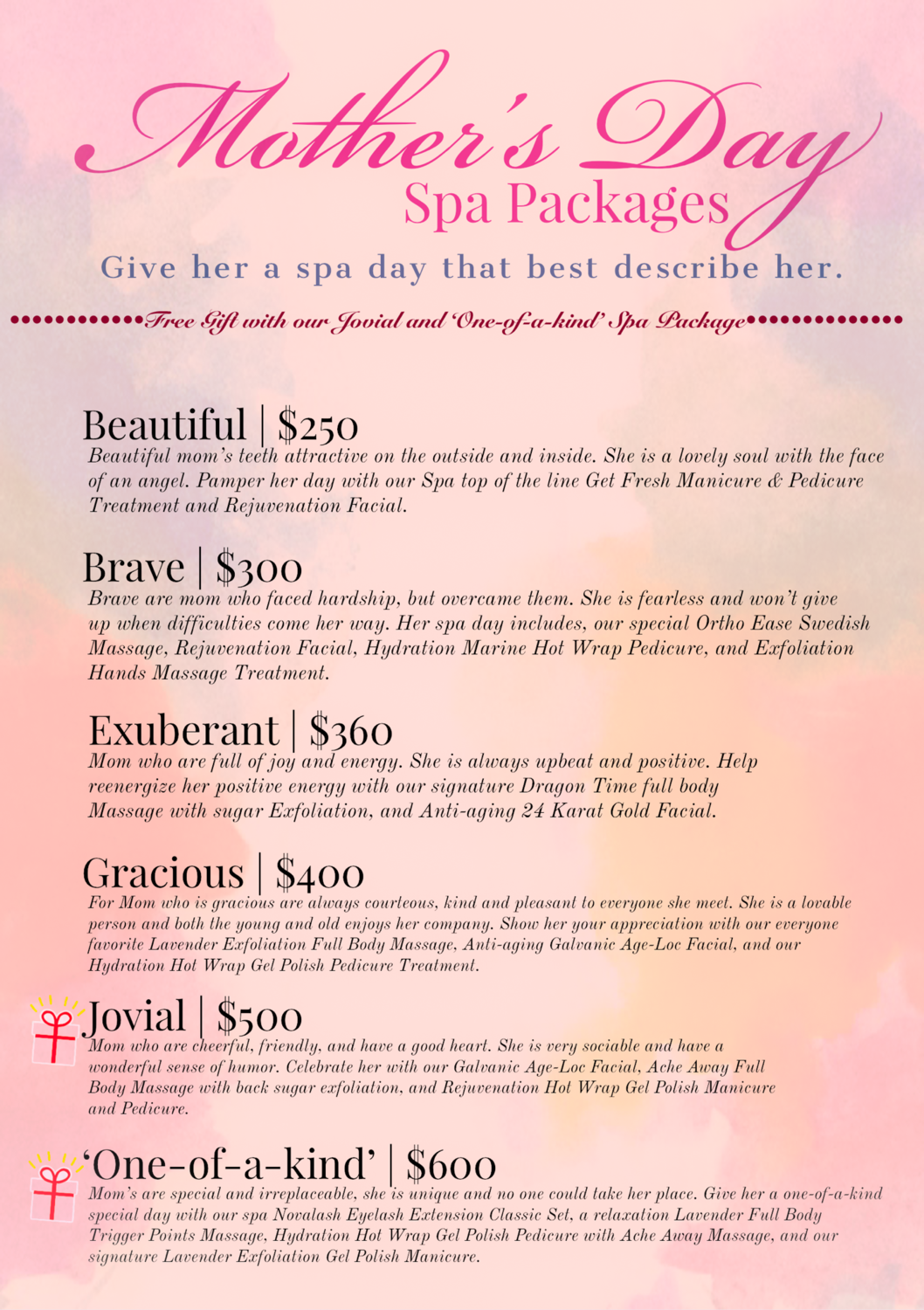 Mother's Day Spa Package: Exuberant