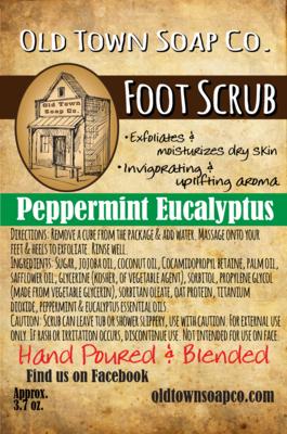 Peppermint Eucalyptus Foot Scrub - Sugar Scrub Cubes