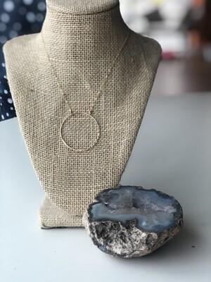 Eliz Gold Hammered Circle Necklace