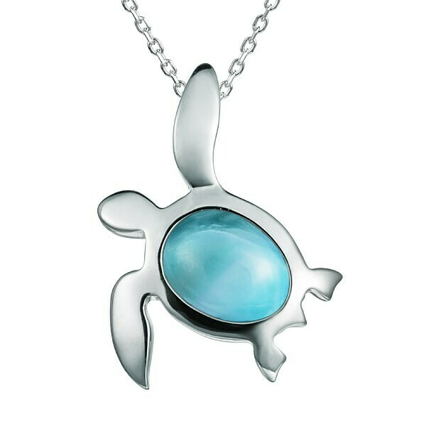 Sterling Silver and Larimar Pendant Necklace