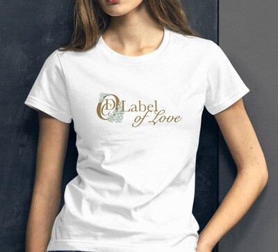 OCD Flower Logo, Label of Love (Horizontal)- FASHION FIT CLASSIC WOMAN'S TEE [7 Colors]