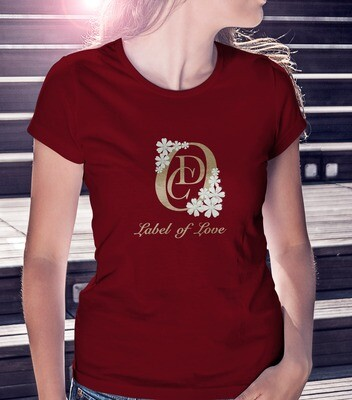OCD Flower Logo, Label Of Love (Center)- FASHION FIT CLASSIC WOMAN'S TEE [7 Colors]