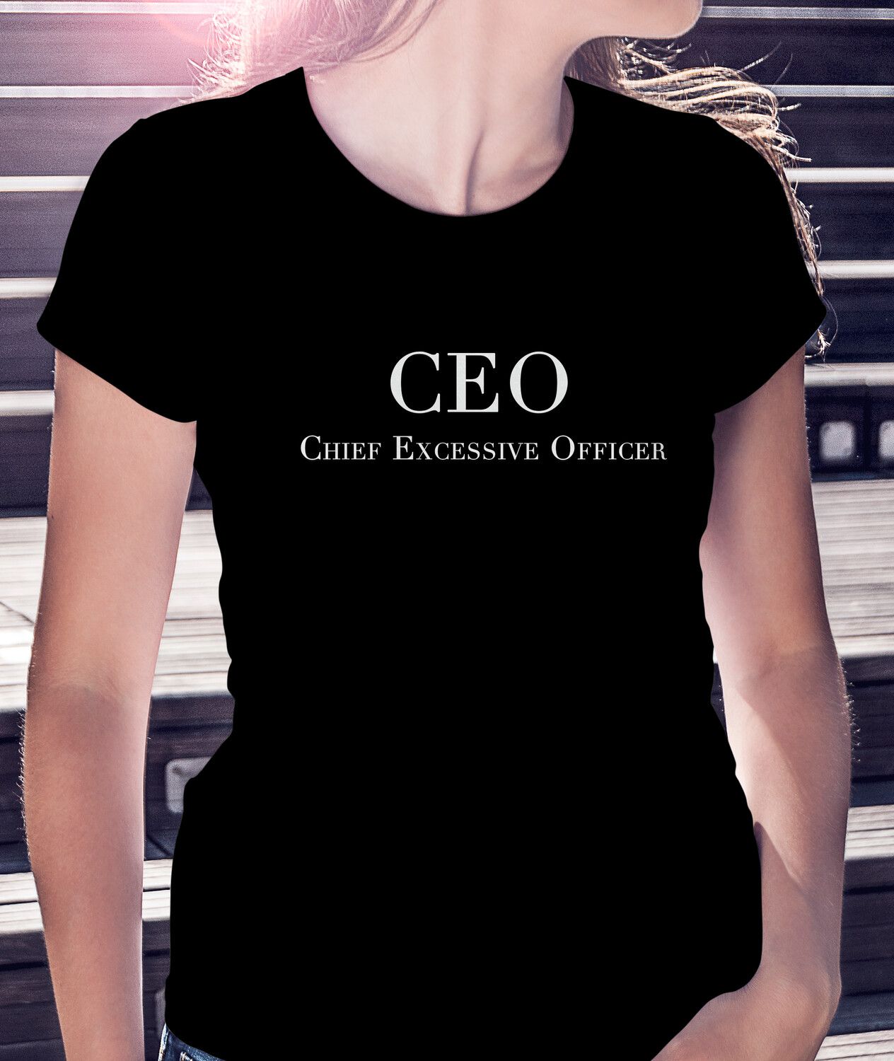 """CHIEF """"EXCESSIVE"""" OFFICER/WHT - CLASSIC WOMAN'S TEE [6 Colors]"""