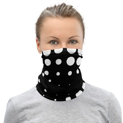 BLK & WHT DOTS- All Purpose Face Covering/Neck Warmer