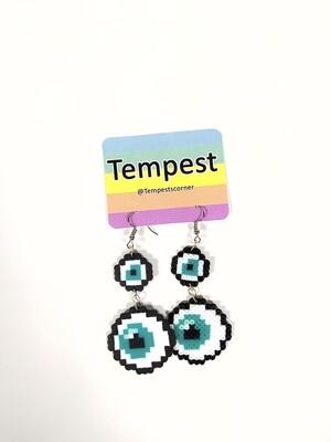 Teal double eyes- Perler Earrings