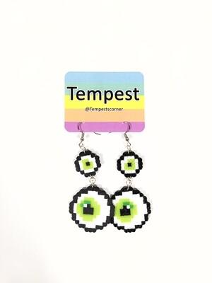 Green double eyes- Perler Earrings