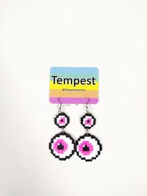 Pink double eyes- Perler Earrings