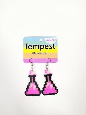 Pink glow beakers - Perler Earrings