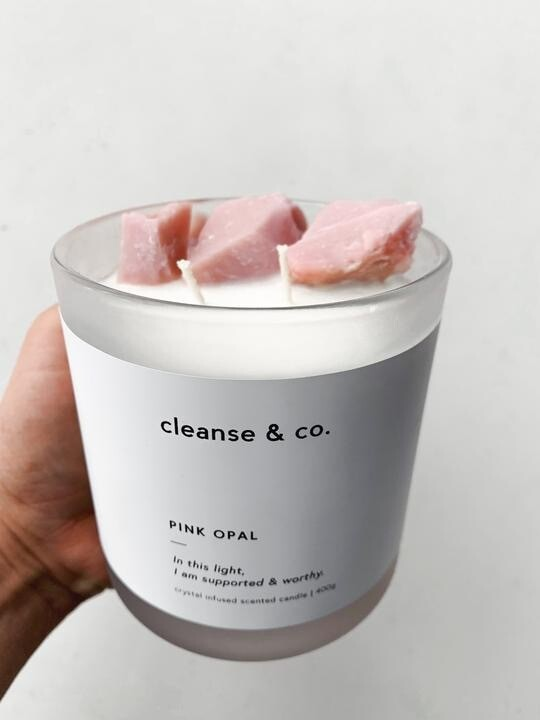 PINK OPAL CRYSTAL CANDLE ( Pick Up Only )