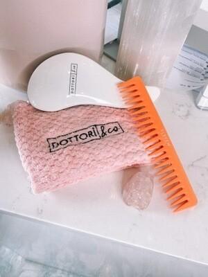 White Brush + Hair Wrap + Comb + Crystal