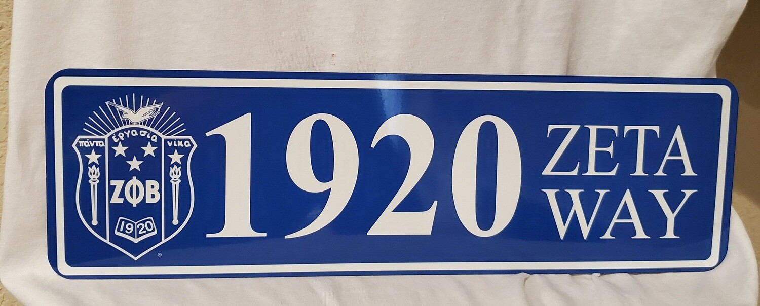 Zeta Phi Beta Aluminum Street Sign Display