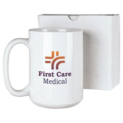 15 oz. White Ceramic Mug with White Box
