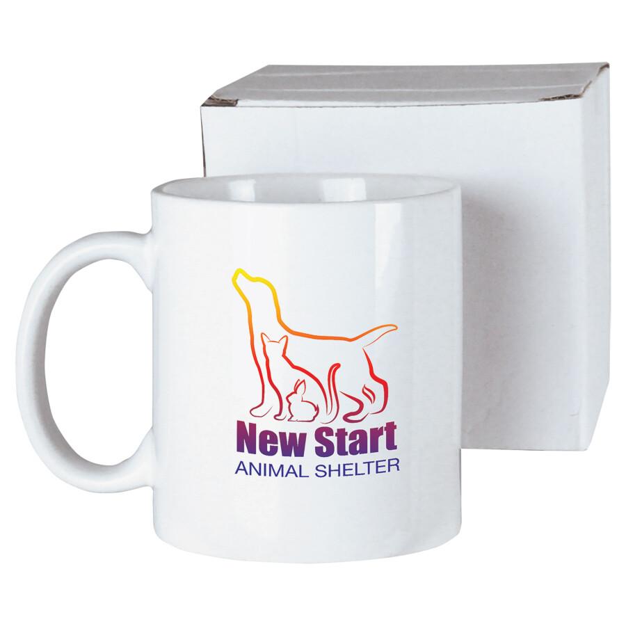 11 oz. White Ceramic Mug with White Box