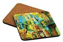 "3.75"" x 3.75"" Gloss White Hardboard Square Coaster with Cork Back (Set of 4)"