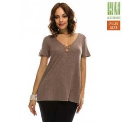 Criss-Cross V-Neck Short Sleeve Top