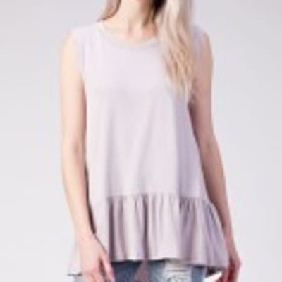 Bamboo Ruffled Sleeveless Top
