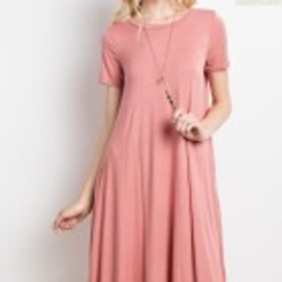 BAMBOO MIDI LENGTH ROUND HEM POCKET DRESS