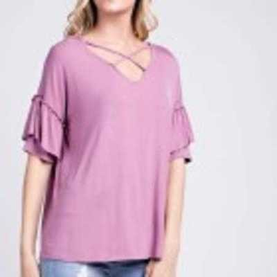 Bamboo Criss-Cross Ruffled Short Sleeve Top