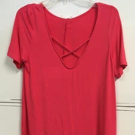 Short Sleeve Criss Cross V-Neck Top