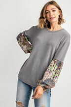 PATCHED PRINT CONTRAST BUBBLE LONG SLEEVE VISCOSE LIOCELL SEMI WASHED KNIT TOP
