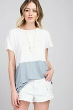 Bamboo Color Block Short Sleeve Top