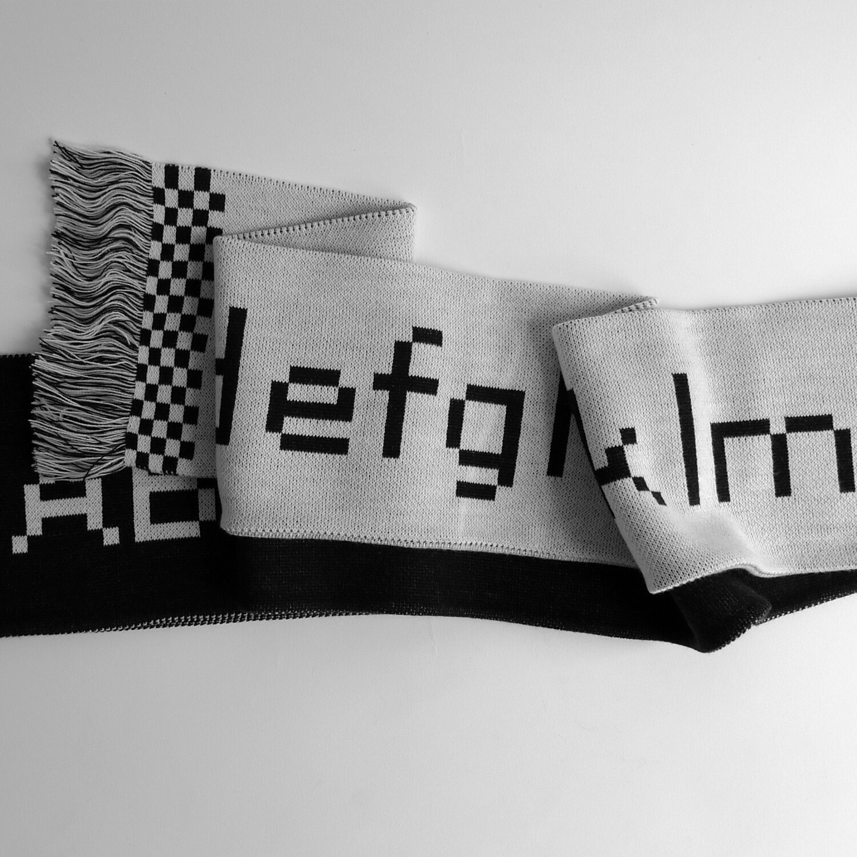 #001: Bitmap typeface alphabet scarf