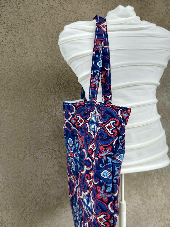 Large handmade, reusable, reversible tote
