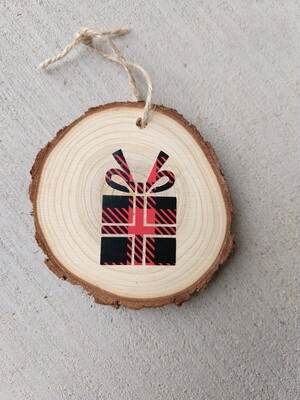 Rustic wooden holiday ornament