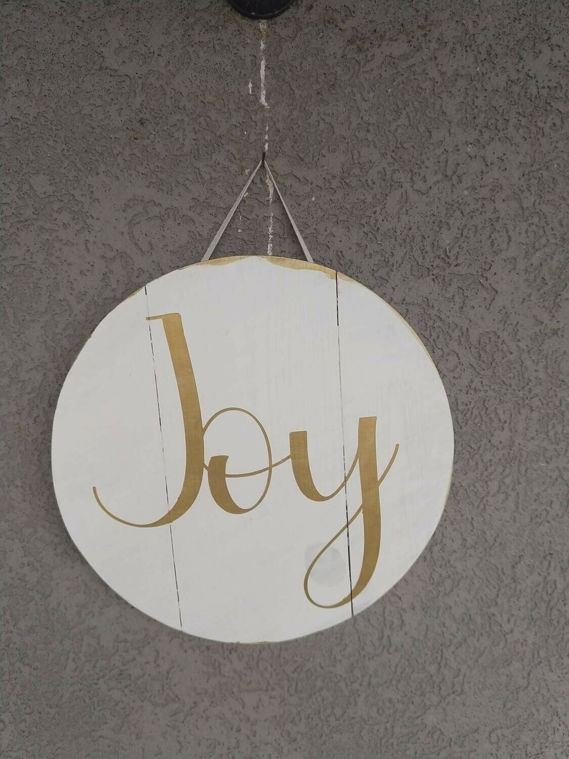 Joy Wooden Round 12x12 hand painted sign