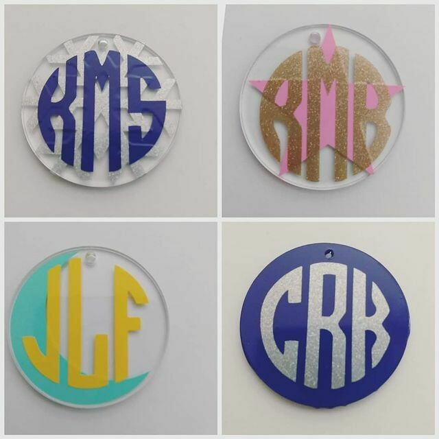 Small personalized initials keychain in various colors