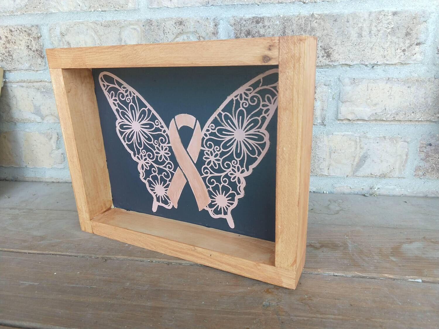 Wooden framed  picture, hand painted